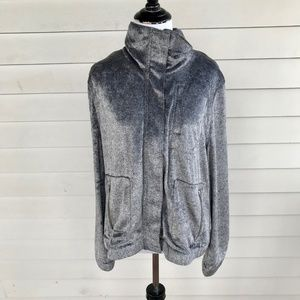 Chico's Zenergy Silver Gray Velour Jacket Sz Large